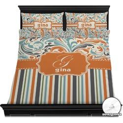 Orange Blue Swirls & Stripes Duvet Covers (Personalized)
