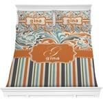 Orange Blue Swirls & Stripes Comforter Set (Personalized)