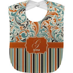 Orange Blue Swirls & Stripes Baby Bib (Personalized)