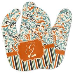 Orange Blue Swirls & Stripes Baby Bib w/ Name and Initial