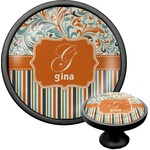 Orange Blue Swirls & Stripes Cabinet Knob (Black) (Personalized)