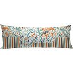 Orange Blue Swirls & Stripes Body Pillow Case (Personalized)
