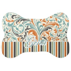 Orange Blue Swirls & Stripes Bone Shaped Dog Food Mat (Personalized)