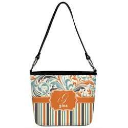 Orange Blue Swirls & Stripes Bucket Bag w/ Genuine Leather Trim (Personalized)