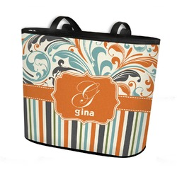 Orange Blue Swirls & Stripes Bucket Tote w/ Genuine Leather Trim (Personalized)
