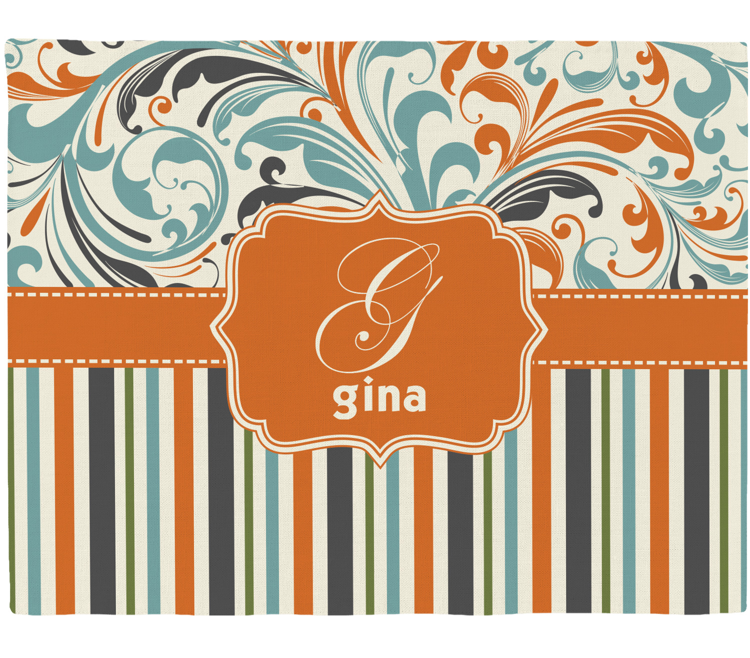 orange blue swirls stripes placemat fabric. Black Bedroom Furniture Sets. Home Design Ideas