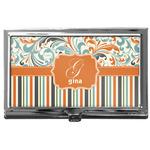 Orange Blue Swirls & Stripes Business Card Case