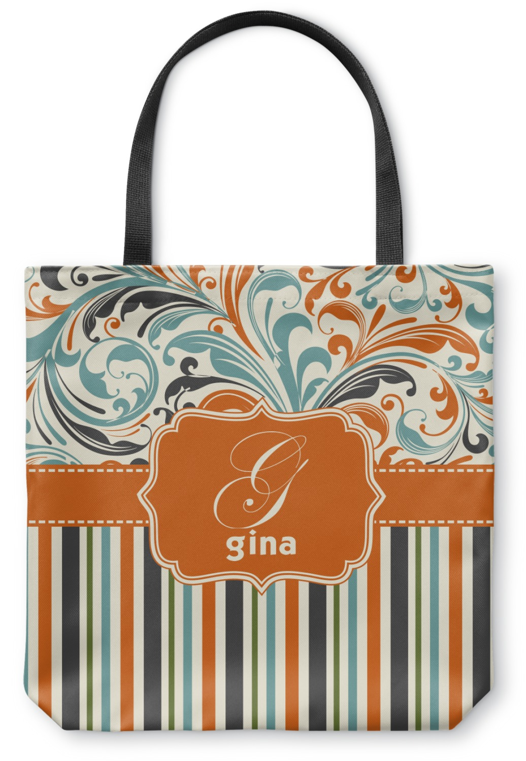 Orange Blue Swirls Amp Stripes Canvas Tote Bag Medium 16