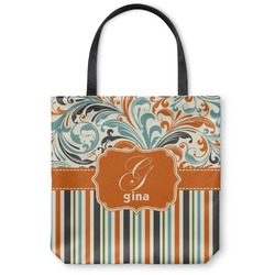 Orange Blue Swirls & Stripes Canvas Tote Bag (Personalized)