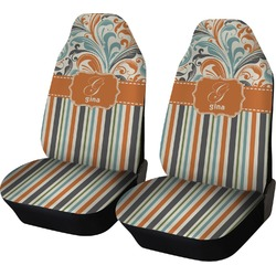 Orange Blue Swirls & Stripes Car Seat Covers (Set of Two) (Personalized)