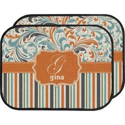 Orange Blue Swirls & Stripes Car Floor Mats (Back Seat) (Personalized)