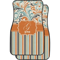 Orange Blue Swirls & Stripes Car Floor Mats (Front Seat) (Personalized)
