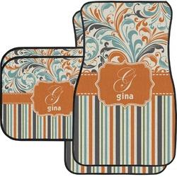 Orange Blue Swirls & Stripes Car Floor Mats (Personalized)