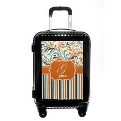 Orange Blue Swirls & Stripes Carry On Hard Shell Suitcase (Personalized)
