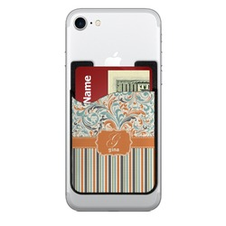 Orange Blue Swirls & Stripes 2-in-1 Cell Phone Credit Card Holder & Screen Cleaner (Personalized)