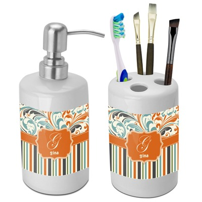 Orange Blue Swirls & Stripes Bathroom Accessories Set (Ceramic) (Personalized)