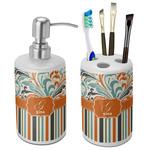 Orange Blue Swirls & Stripes Bathroom Accessories Set (Ceramic) (Personalized)