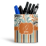 Orange Blue Swirls & Stripes Ceramic Pen Holder