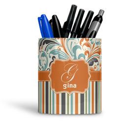 Orange Blue Swirls & Stripes Ceramic Pen Holder
