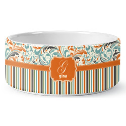Orange Blue Swirls & Stripes Pet Bowl (Personalized)