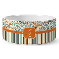 Orange Blue Swirls & Stripes Ceramic Pet Bowl (Personalized)