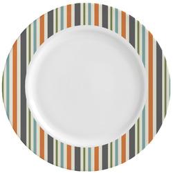 Orange Blue Swirls & Stripes Ceramic Dinner Plates (Set of 4) (Personalized)