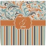 Orange Blue Swirls & Stripes Ceramic Tile Hot Pad (Personalized)