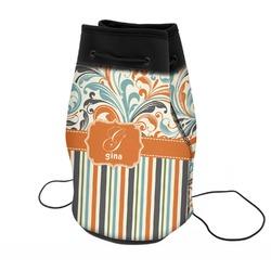 Orange Blue Swirls & Stripes Neoprene Drawstring Backpack (Personalized)