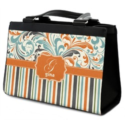 Orange Blue Swirls & Stripes Classic Tote Purse w/ Leather Trim (Personalized)