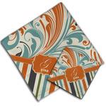 Orange Blue Swirls & Stripes Cloth Napkin w/ Name and Initial