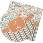 Orange Blue Swirls & Stripes Rubber Backed Coaster (Personalized)