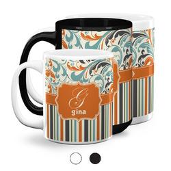 Orange Blue Swirls & Stripes Coffee Mugs (Personalized)
