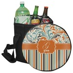 Orange Blue Swirls & Stripes Collapsible Cooler & Seat (Personalized)