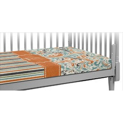 Orange Blue Swirls & Stripes Crib Fitted Sheet (Personalized)