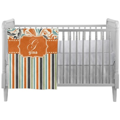 Orange Blue Swirls & Stripes Crib Comforter / Quilt (Personalized)