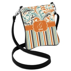 Orange Blue Swirls & Stripes Cross Body Bag - 2 Sizes (Personalized)