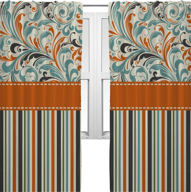 orange blue swirls stripes curtains 40 x63 panels lined 2 panels per set personalized. Black Bedroom Furniture Sets. Home Design Ideas