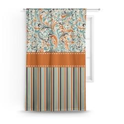 Orange Blue Swirls & Stripes Curtain (Personalized)