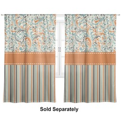 "Orange Blue Swirls & Stripes Curtains - 20""x54"" Panels - Lined (2 Panels Per Set) (Personalized)"
