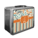 Orange Blue Swirls & Stripes Lunch Box (Personalized)