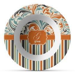 Orange Blue Swirls & Stripes Plastic Bowl - Microwave Safe - Composite Polymer (Personalized)