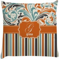 Orange Blue Swirls & Stripes Decorative Pillow Case (Personalized)