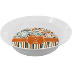 Orange Blue Swirls & Stripes Melamine Bowls (Personalized)