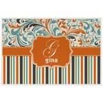 Orange Blue Swirls & Stripes Laminated Placemat w/ Name and Initial