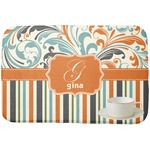 Orange Blue Swirls & Stripes Dish Drying Mat (Personalized)