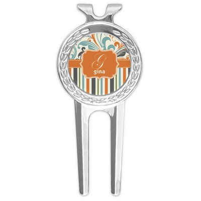 Orange Blue Swirls & Stripes Golf Divot Tool & Ball Marker (Personalized)