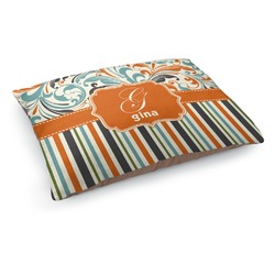 Orange Blue Swirls & Stripes Dog Bed (Personalized)
