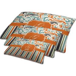 Orange Blue Swirls & Stripes Dog Bed w/ Name and Initial