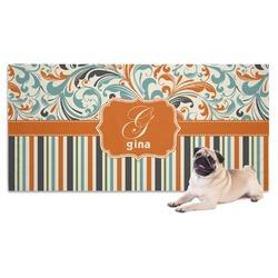 Orange Blue Swirls & Stripes Pet Towel (Personalized)