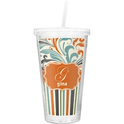 Orange Blue Swirls & Stripes Double Wall Tumbler with Straw (Personalized)